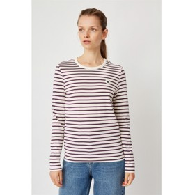 Moa long sleeve off-white/aubegine stripes - Wood Wood