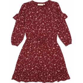 Gail kjole Oxblood Red Flowery - Soft Gallery