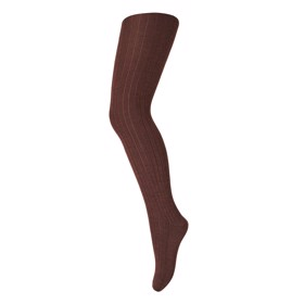 Strømpebuks tights rib uld Dark brown - MP