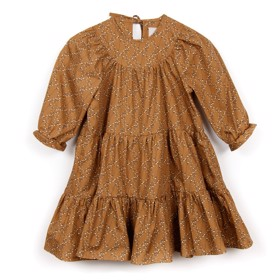 Frill Dress Cotton Flower Mustard - Huttelihut