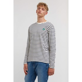 Mel long sleeve off-white/navy stripes - Wood Wood