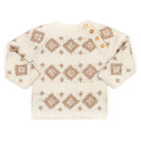 Haremis Sweater off white w. Camel - Huttelihut