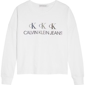 Logo repeat boxy Bluse hvid - Calvin Klein