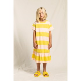 Kjole Patti mustard/peach stripes - Finger in the Nose