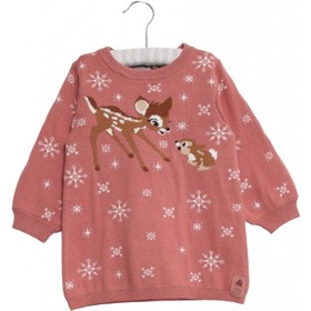 Disney baby Strikkjole Bambi & Stampe soft rouge - Wheat