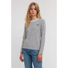 Moa long sleeve off-white/navy stripes - Wood Wood