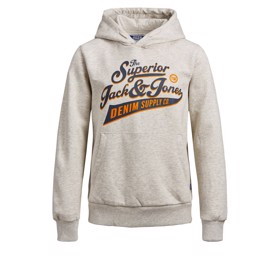 Print hoddie white melange - Jack & Jones jr