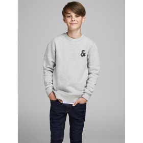 Logo sweat crew neck grey melange  - Jack & Jones jr