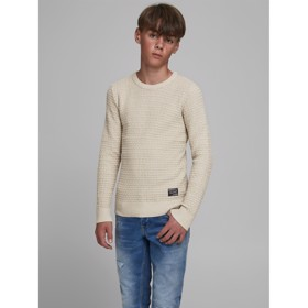 Striktrøje, JORJULIUS KNIT CREW NECK, Peyote  - Jack & Jones JR