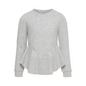 Strik med peplum, Light Grey Melange - Kids Only