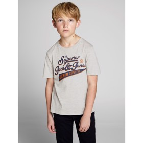 T-shirt retroprint white melange - Jack & Jones jr